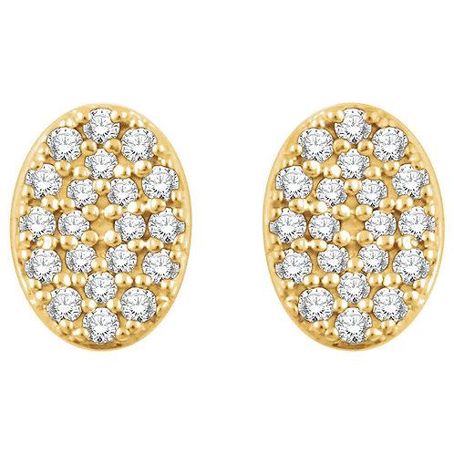 14kt W.G 0.16 ct Diamond Oval Cluster Earrings