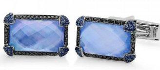 18kt W.G. Black Diamonds And Sapphire Cufflink