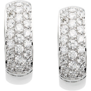 14kt. W/Y G. Diamond Hoop Earrings