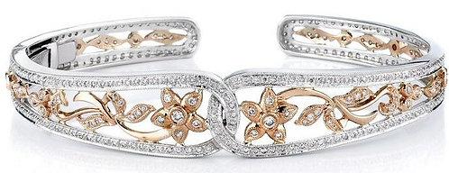 14kt. Tu-tone Diamond Bangle Bracelet