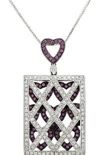 18kt. W 0.83 ct Diamond And Pink Sapphire Pendant