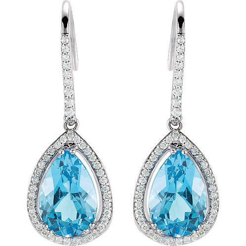 14kt WG Aquamarine And Diamonds Earrings