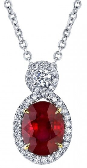 14kt. W.G. 0.50 ct Diamond And Ruby Pendant