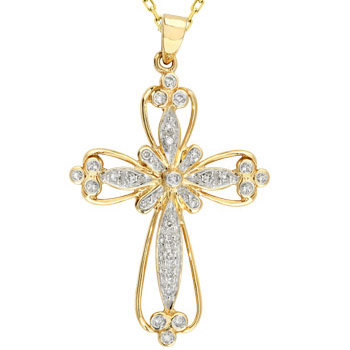 14kt. Tu-Tone 0.25ct. Diamond Cross Pendant