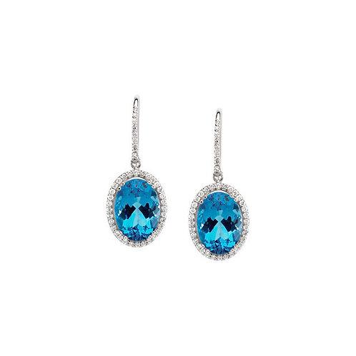 14kt WG Aquamarine And Diamonds Earrings