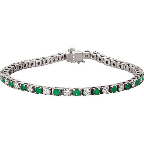 14kt. W.G. Emerald And 2.37 ct  Diamond Bracelet
