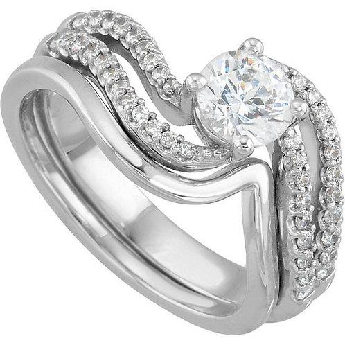 14k W.G 0.33 ct Diamond Engagement Ring
