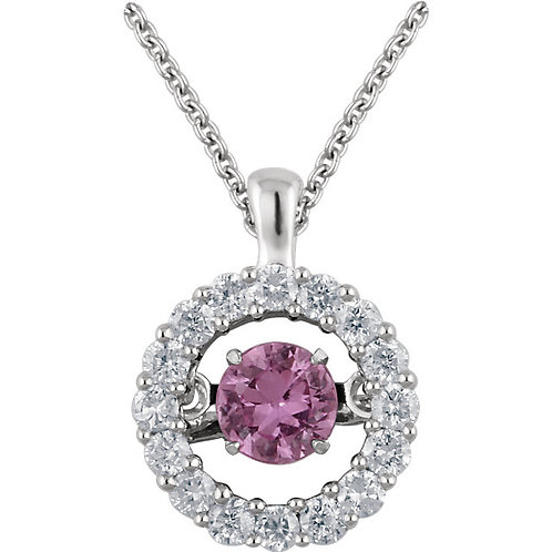 14kt. W.G. Pink Sapphire And Diamond Necklace