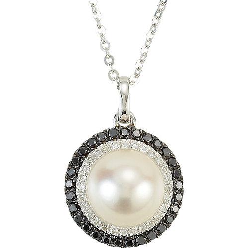 14kt. W.G. Diamonds Pearl Necklace