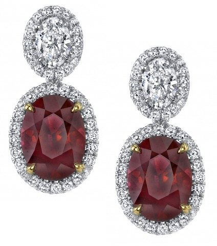18kt. Y.G. And Platinum Ruby And Diamond Earrings