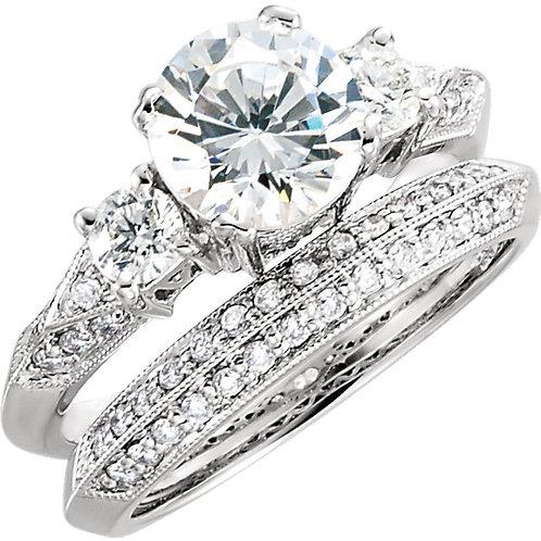 14k W.G 0.12 ct Three Stone Engagement Ring