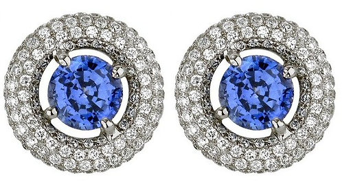 18kt. W.G. 2.47cts. Sapphire And Diamond Earrings