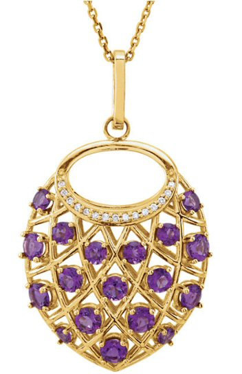 14kt. Y.G. Diamond And Amethyst Pendant