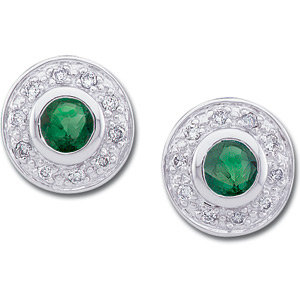 14kt. W.G. Emerald And Diamond Earrings