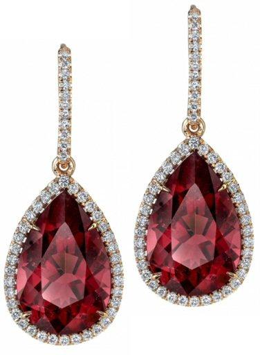 18kt. pink Tourmaline And Diamond Earrings