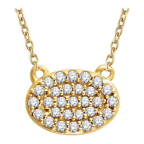 14kt Y.G 0.15 ct Diamond Oval Necklace
