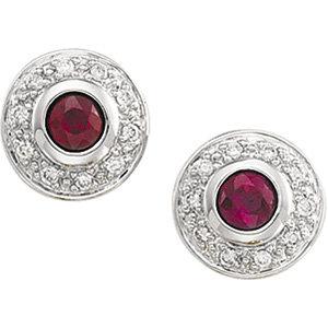 14kt. W.G. Ruby And Diamond Earrings