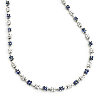 14kt. W.G. 3.50cts. Sapphire And Diamond Necklace