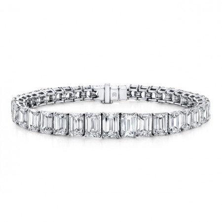 Emerald Cut Graduated  Bracelet