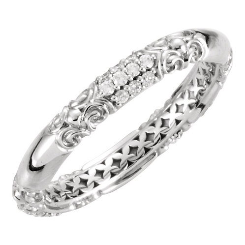 14kt W.G. 0.20 CT Diamond Stackable Ring
