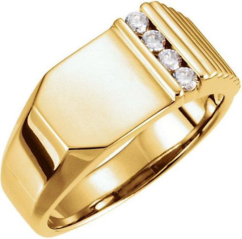 14kt. Y.G. 0.20 ct Diamond Men's Ring