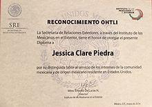 Premio Ohtli servicio comunitario