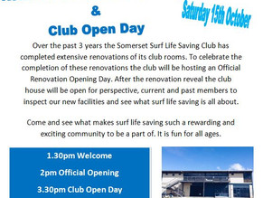 Renovation Official Opening & Club Open Day 15/10