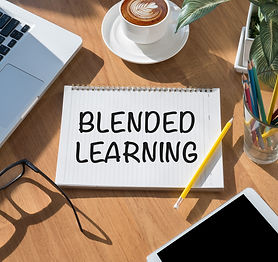 BLENDED LEARNING open book on table and