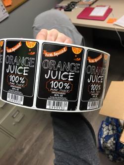 Orange juice labels