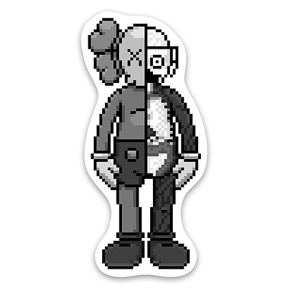 Pixel Friend Chopped Sticker  - Grey