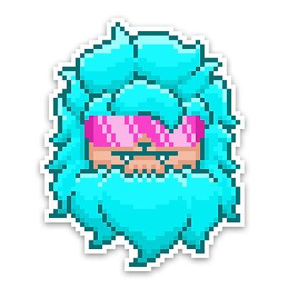 Holographic Cyan Pixel Yeti Sticker