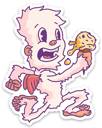 Winged Yeti Ice Cream Sticker