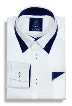 設計款色塊拼接純棉襯衫