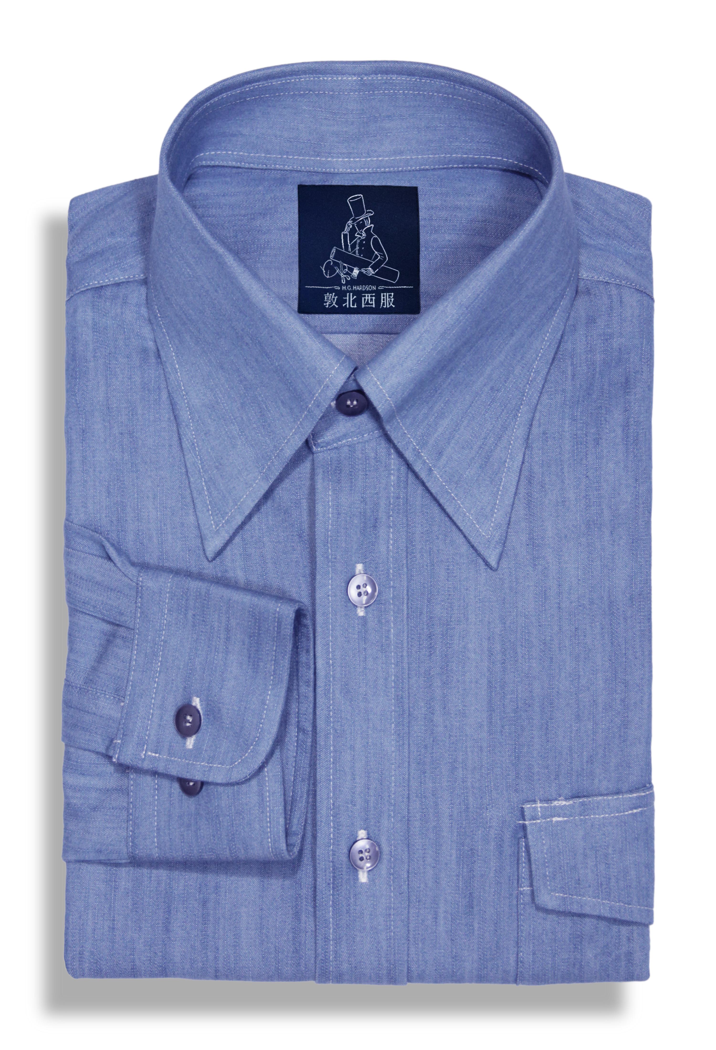 丹寧大尖領襯衫-淺藍