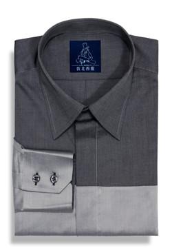 Testa 120's 夏季雙色光澤純棉剪接襯衫-灰