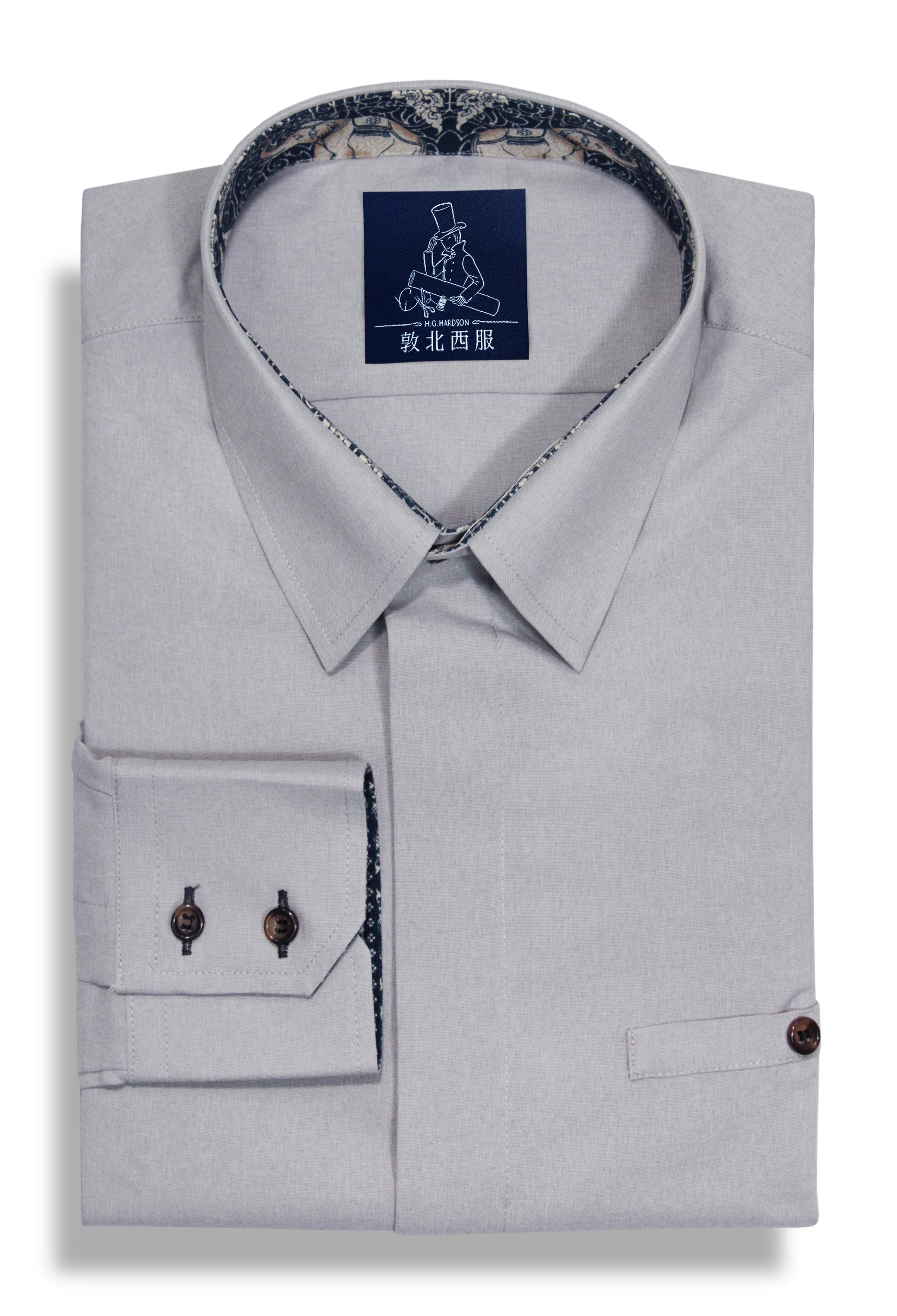設計款內滾邊棉麻灰襯衫