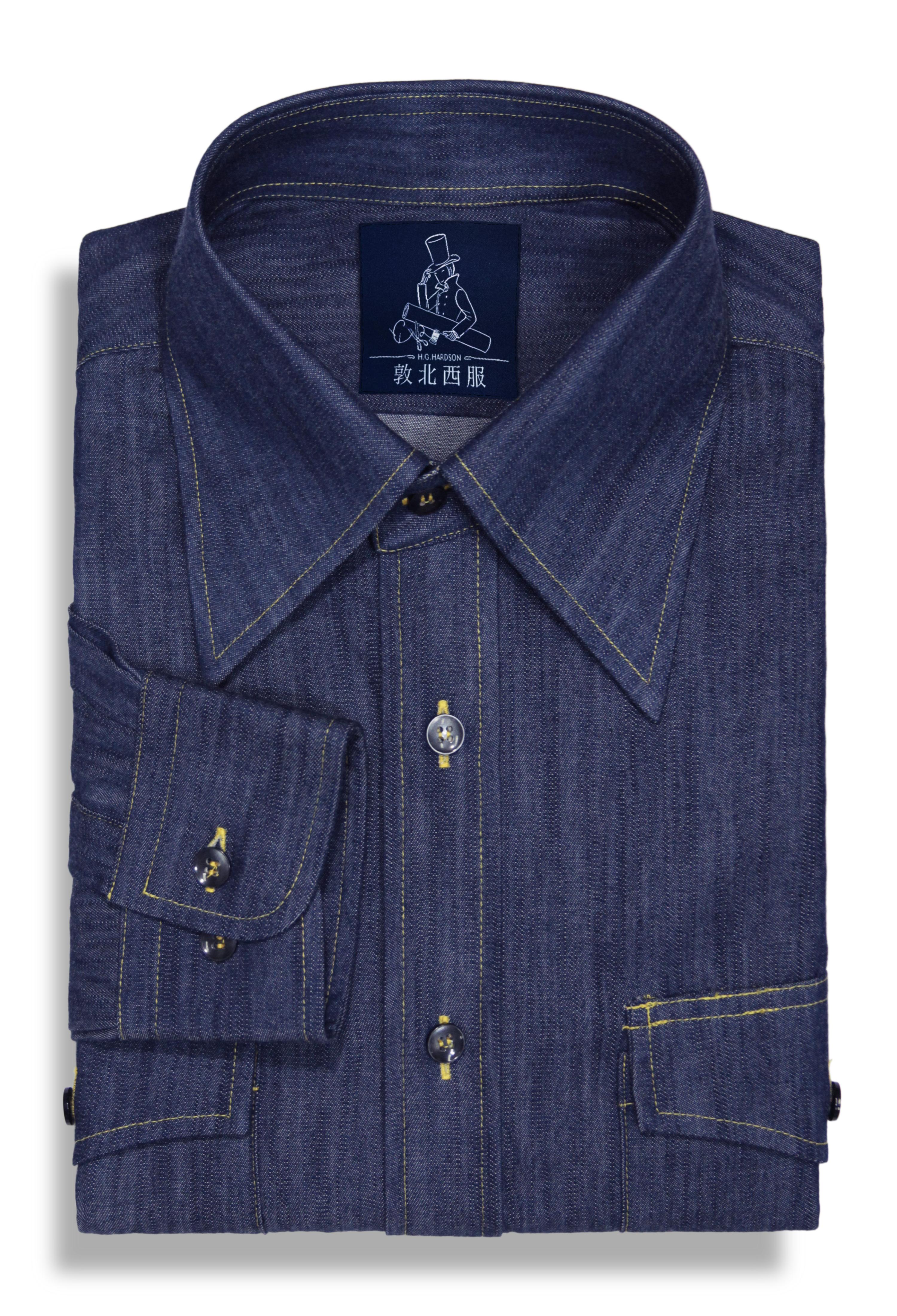 丹寧大尖領襯衫-深藍