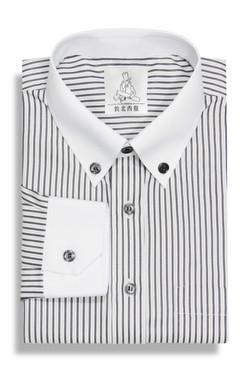 配色黑白條紋角釦襯衫