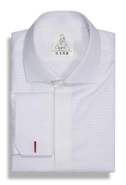 菱紋混紡一字領襯衫