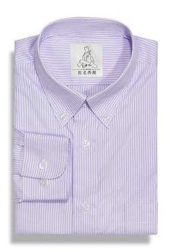 條紋角釦商務襯衫-紫