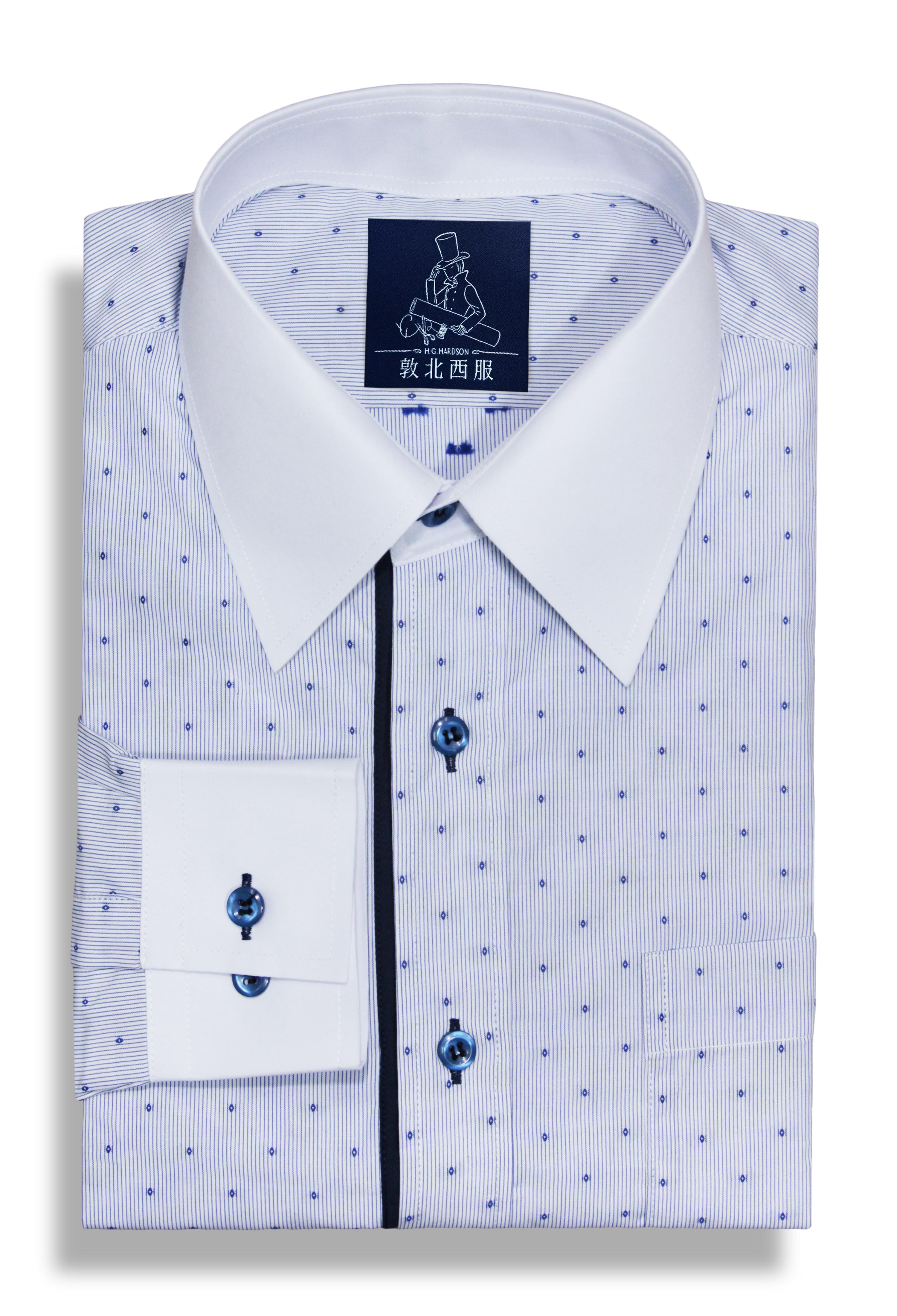 配色水藍細條點點純棉襯衫