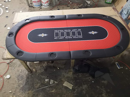 2m Red Bifold Oval Poker Table Top With Card Slots (Speed Cloth)
