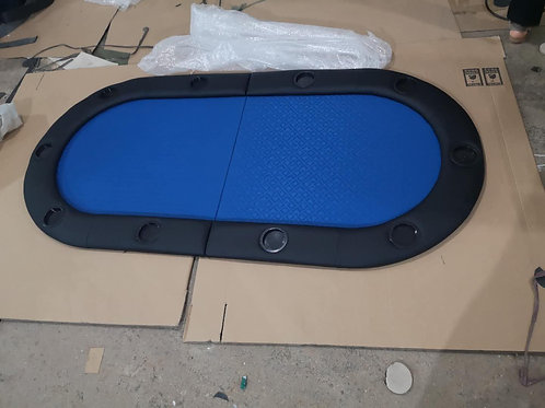 1.8m Blue Bifold Oval Poker Table Top (Speed Cloth)