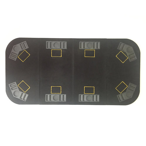 8 Players Black Rectangular Poker Table Top with Card Slots