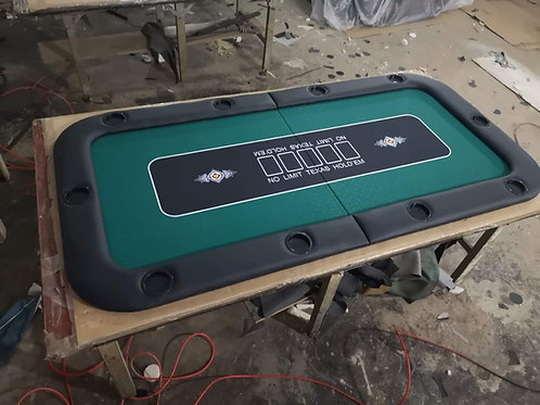 1.8m Green Bifold Rectangular Poker Table Top With Card Slots  (Speed Cloth)