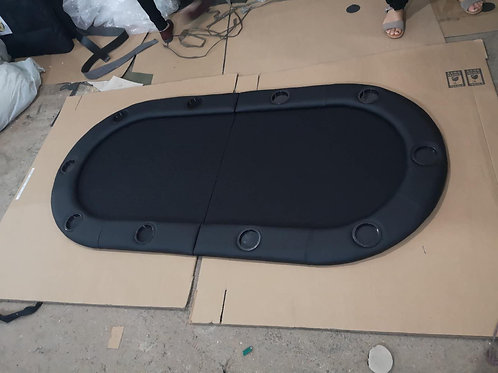 2m Black Bifold Oval Poker Table Top (Speed Cloth)