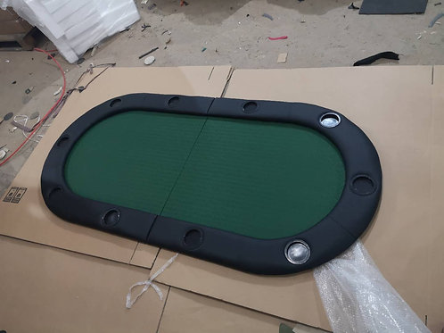1.8m Green Bifold Oval Poker Table Top (Speed Cloth)
