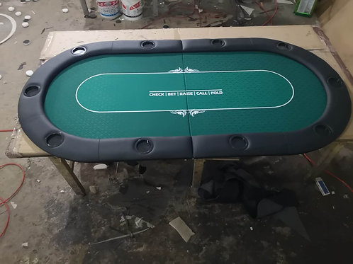 2m Green Bifold Oval Poker Table Top With Card Line (Speed Cloth)