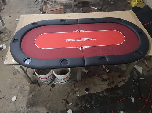 2m Red Bifold Oval Poker Table Top With Card Line (Speed Cloth)