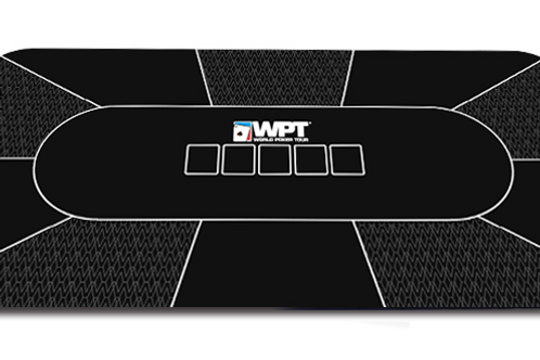 Black WPT Rectangle Poker Table Overlay Rubber Mat with Dust Bag